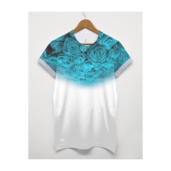 floral dark blue shirt