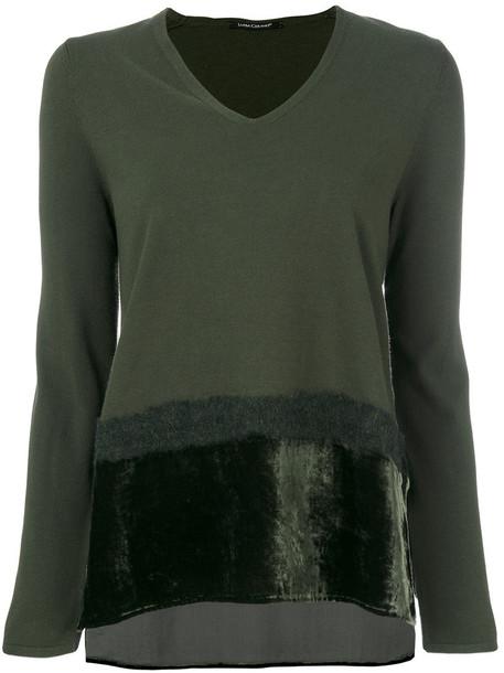 Luisa Cerano - faux fur trim detail knit top - women - Polyester/Viscose - 44, Green, Polyester/Viscose