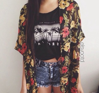 shirt flowers yellow t-shirt tees top shop clothes black and white colorful short jeans bright dark rapped up