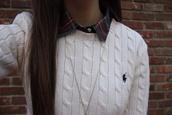 sweater,ralph lauren polo,polo ralph lauren,polo sweater,white sweater,plaid shirt,shirt,white shirt,dark blue logo,logo,dark blue,cool