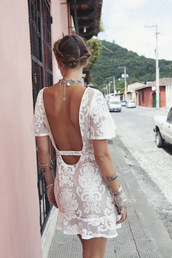 dress,white,summer,short,transparent,pattern,open back,white dress,laced dress,open back dresses,summer dress,lace,boho
