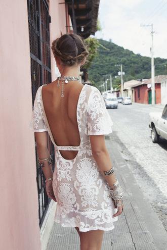 dress white summer short transparent pattern open back white dress laced dress open back dresses summer dress lace boho