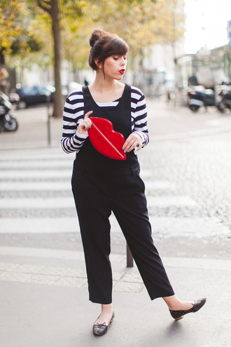 wish wish wish blogger top jumpsuit bag clutch lips charlotte olympia