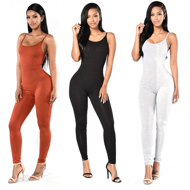 Aliexpress.com : Buy Spaghetti Strap Bodycon Jumpsuit, Bodycon Women Solid Color Long Jumpsuit from Reliable jumpsuits for women 2010 suppliers on SureFavor Store