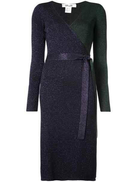 Dvf Diane Von Furstenberg dress wrap dress metallic women blue