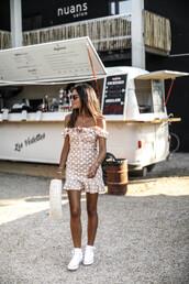 dress,mini dress,polka dots,sneakers,bag,sunglasses