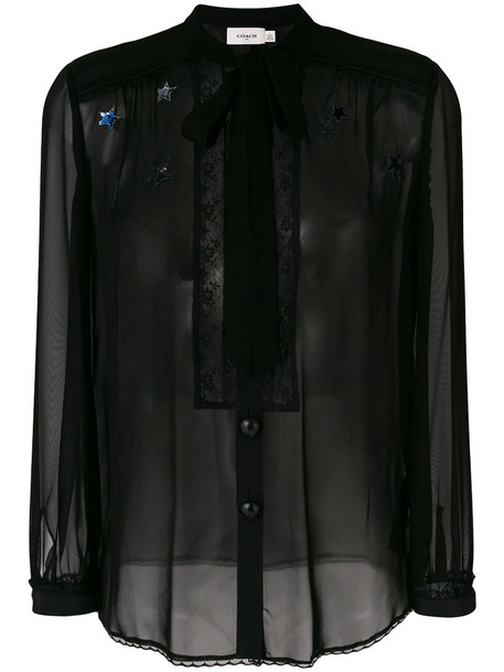 coach blouse women black top