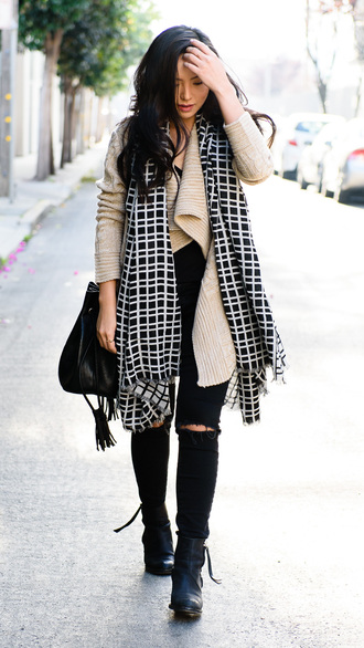 the fancy pants report blogger cardigan scarf jeans shoes