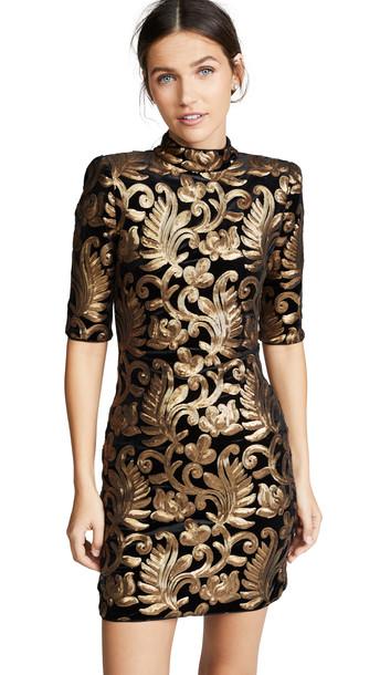 alice + olivia alice + olivia Inka Sequin Strong Shoulder Dress in black / gold
