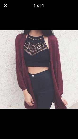 blouse cardigan jeans shirt maroon/burgundy crop tops crochet black disco pants high waisted jeans oversized cardigan bracelets tank crop top denim outfit fringes skinny jeans brunette top black top lace black crop top lace top burgundy sweater dress sweater boho