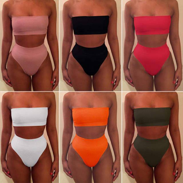 Womens Bandage Bikini Push-up Bandeau Bra Swimsuit Bathing 2pcs Set Swimwear UK | eBay