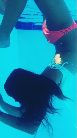 swimwear cris cross bright pink bathing suit bottoms criss cross neon