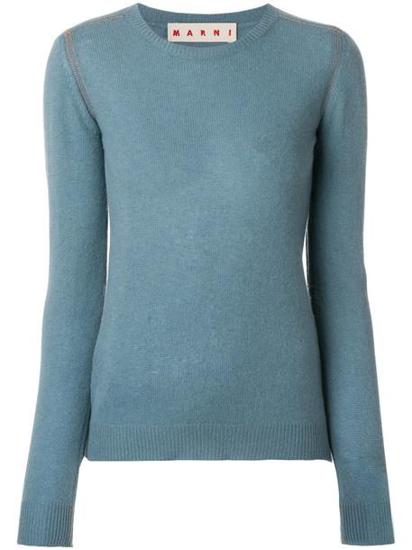 Marni - cashmere crew neck sweater - women - Cashmere - 42, Blue, Cashmere