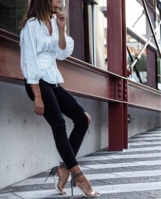 shirt tumblr white shirt corset belt denim jeans skinny jeans black jeans sandals sandal heels high heel sandals shoes