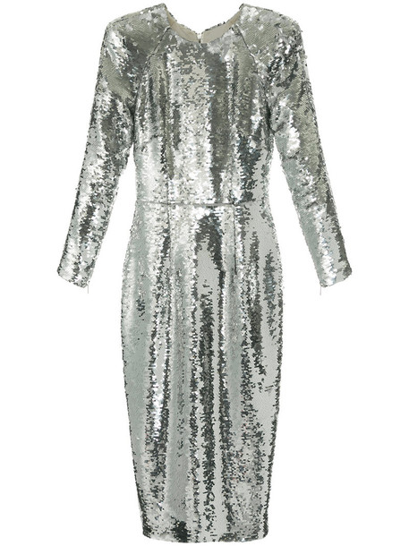 Alex Perry dress women spandex grey metallic