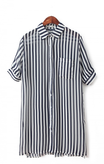 Short Sleeves Lapel Vertical Stripes Print Blouse