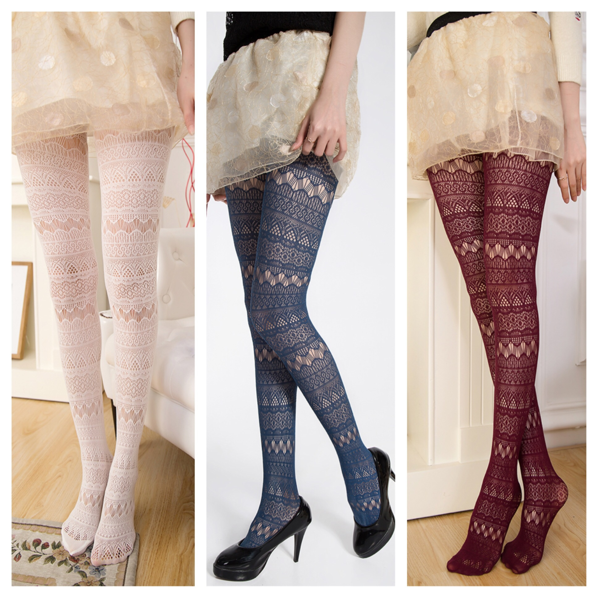 Lovely eyelet lace tights socks legging