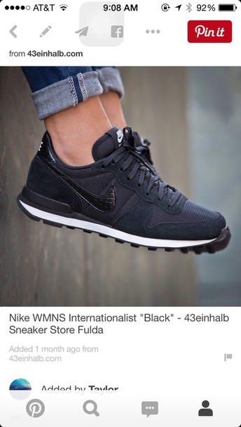 shoes nike nike shoes sports shoes workout shoes black all black everything  nike internationalists internationalists cute 713f836c7