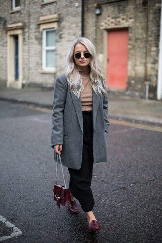bag tumblr chain bag coat grey coat pants black pants wide-leg pants cropped pants shoes loafers sunglasses top turtleneck turtleneck sweater