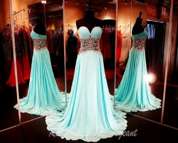 dress prom dress aqua blue sweetheart neckline
