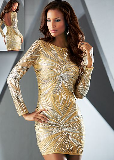 Silver Long sleeve sequin dress from VENUS
