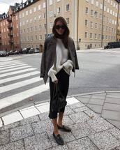 jacket,blazer,grey blazer,flats,cropped pants,backpack,oversized sweater,knitwear,sunglasses