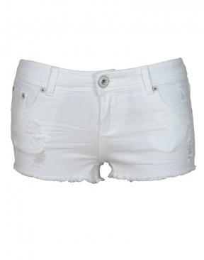 White Distressed Denim Hotpants