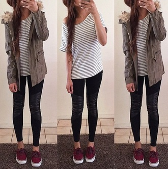 jacket cute style vans summer spring winter outfits fall burgundy shoes army green jacket striped shirt burgendy