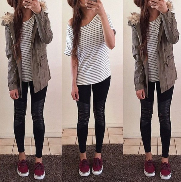 60692e45c1e423 jacket cute style vans summer spring winter outfits fall outfits burgundy  shoes army green jacket striped