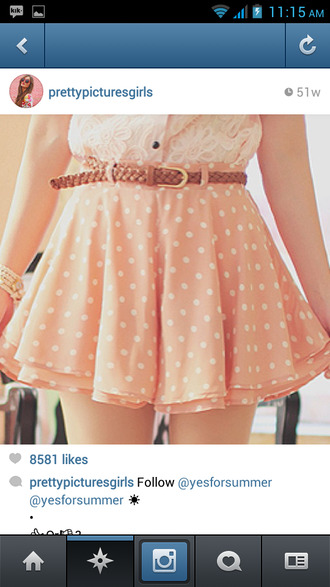 skirt polka dots pink belt