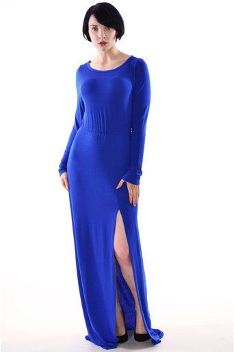 REXANE Long Sleeve Split Front Maxi Dress in Royal Blue - Pop Couture