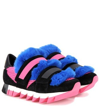 fur mesh embellished sneakers suede black shoes