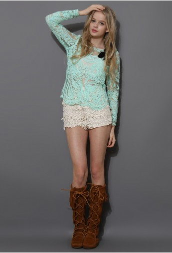 Delicacy Crochet Top in Mint Green   (First 20 Order $25.9) - Retro, Indie and Unique Fashion