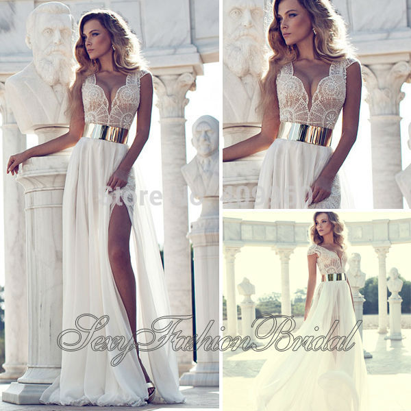 Aliexpress.com : Buy New Arrival Deep V Neck With Beaded A line Natural Waist Slit Floor length Chiffon Bridal Gown Wedding Dresses Vestidos De Noiva from Reliable dress womens suppliers on sexyfashionbridal
