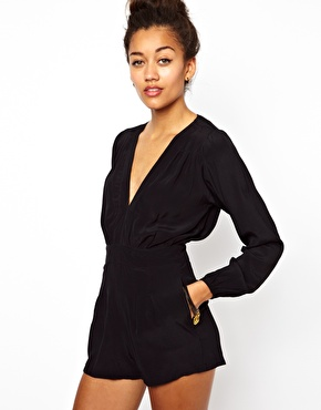 Motel | Motel Jet Playsuit With Plunge Neck at ASOS