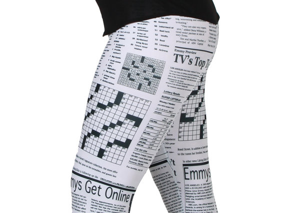 Newspaper Print Spandex Leggings  Black on white by GpopClothing