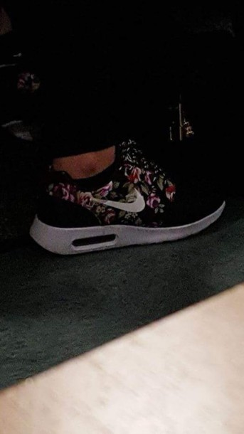 the latest 5751b f99ef shoes nike floral air max trainers sneakers black pink nike air max thea