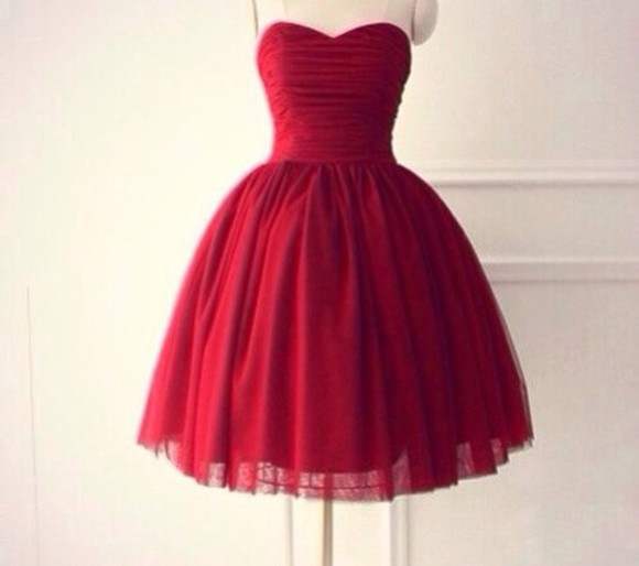 bandeau short prom dress puffy dress red dark red beautiful beautiful red dress red dress prom dress red prom dress peakperformance cute dark red dress want it!!!! homecoming dress adorable