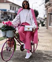 bag,white bag,suit,pink blazer,pink pants,white sneakers,socks,white sweater,white sunglasses