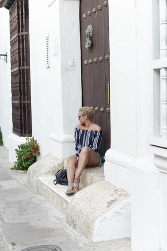 fashionably lo blogger top shorts shoes sunglasses bag striped off shoulder top off the shoulder off the shoulder top denim shorts blue shorts frayed denim sandals wedges wedge sandals black bag summer outfits long sleeves stripes striped top