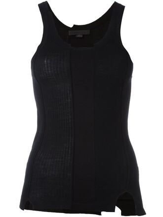 tank top top cut-out women spandex cotton black