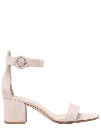 heel sandals suede blush shoes