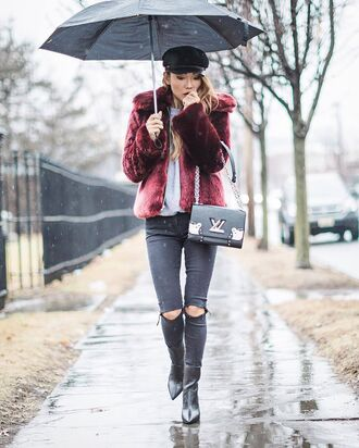 jacket tumblr fur jacket faux fur jacket red jacket sweater grey sweater jeans denim grey jeans ripped jeans skinny jeans boots black boots pointed boots hat black hat fisherman cap umbrella bag black bag louis vuitton designer bag