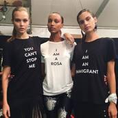t-shirt,top,ny fashion week 2017,fashion week 2017,sara sampaio,josephine skriver,prabal gurung,jasmine tookes,instagram
