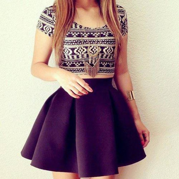 skirt skater skirt black cute girly aztec crop tops