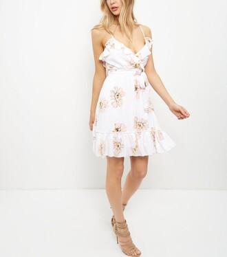 dress white dress white summer dress little white dress floral floral dress ruffle dress wrap dress