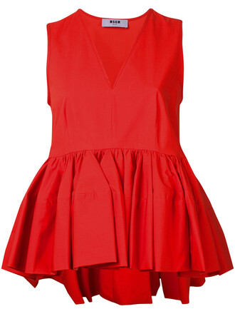 top ruffle women spandex cotton red