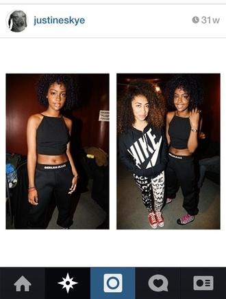 shirt halter top aaliyahinspired late90s hip hop street urban baggy gerlanjeans tommy hilfiger black pants inspired 90shiphop bellyshirt black aaliyah singer early 2000s justineskye pants