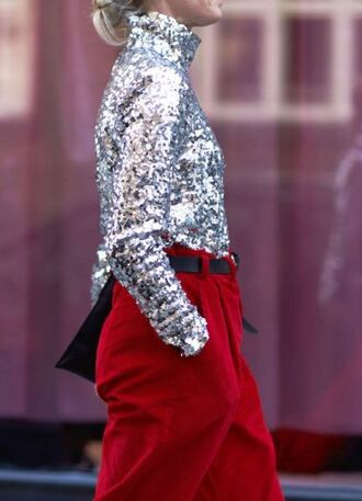 top silver top tumblr sequins sequin top pants red pants belt metallic blouse sequin blouse