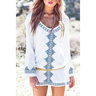 dress boho white blue summer long sleeves spring gypsy trendsgal.com trendy style summer dress long sleeve dress fashion pattern festival
